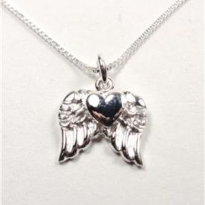 Jewelry - STERLING SILVER FLOATING HEART ANGEL WING NECKLACE